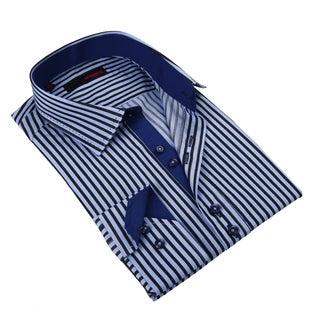 Ungaro Men's Blue Cotton Striped Dress Shirt