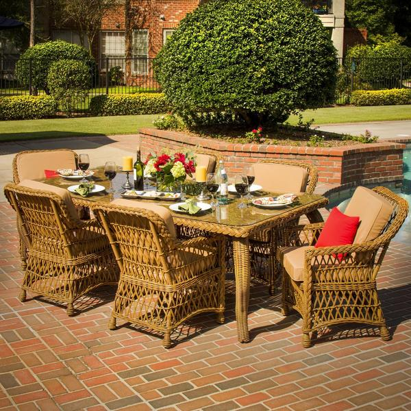 Everglades 6 person resin wicker patio dining set for Home design 6 piece patio set