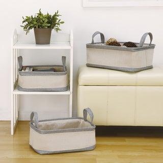 Grey/ Off-white Cotton Handle Storage Baskets (Set of 3)