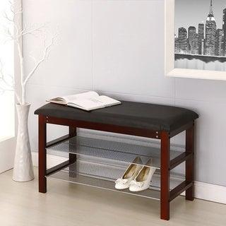 Mahogany Wood Black Cushion Bench with Shelves