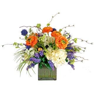 Multi Silk Flower Arrangement in Glass Vase with Acrylic Water