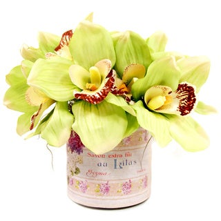 Cymbidium Orchid Silk Flowers in French Labelled Glass Container