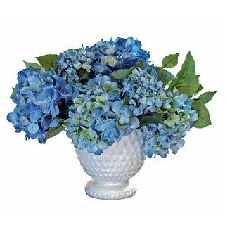 Blue Silk Hydrangea Cluster in Milk Glass Pedestal Urn