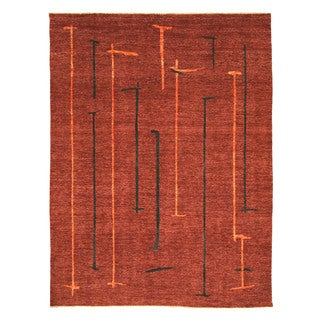 EORC 9216 Red Hand-knotted Wool Peshawar Area Rug (8'9 x 11'5)