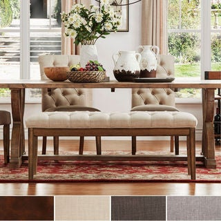 TRIBECCA HOME Benchwright Tufted Reclaimed 52-inch Upholstered Bench