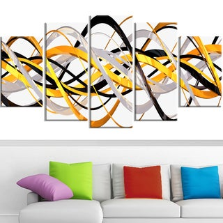 Design Art 'Grey and Gold Waves' Canvas Art Print