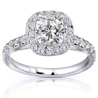 Annello 14k White Gold Cushion Moissanite 2/5ct TDW Diamond Engagement Ring (G-H, I1-I2)