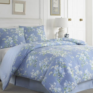 Laura Ashley Spencer Periwinkle Cotton 4-piece Comforter Set