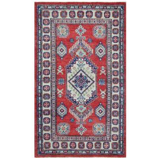 Herat Oriental Afghan Hand-knotted Tribal Kazak Red/ Ivory Wool Rug (3' x 5')