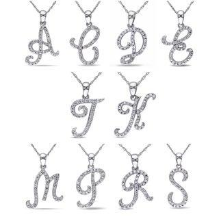 Miadora 10k White Gold 1/6ct TDW Diamond Initial Necklace (G-H, I1-I2)