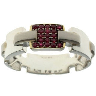 Michael Valitutti Gold over Silver Men's Ruby Ring