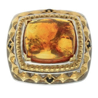 Michael Valitutti Gold over Silver Men's Baltic Amber Ring