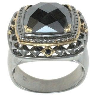 Michael Valitutti Palladium Silver Men's Hematite and Blue Sapphire Ring