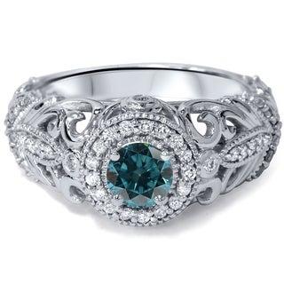 Bliss 14k White Gold 3/4ct TDW Blue and White Diamond Vintage Halo Ring