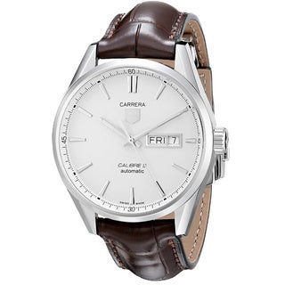 Tag Heuer Men's WAR201B.FC6291 'Carrera Calibre 5 Day-Date' Stainless Steel and Leather Watch