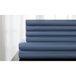 Delray 600 Thread Count Diamond Embroidered Hemstich Solid or Striped 6-piece Sheet Set