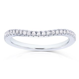 Annello 14k White Gold 1/8ct TDW Curved Diamond Wedding Band (H-I, I1-I2)