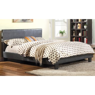 Furniture of America Britney Modern Grey Leatherette Platform Bed with Bluetooth Speaker