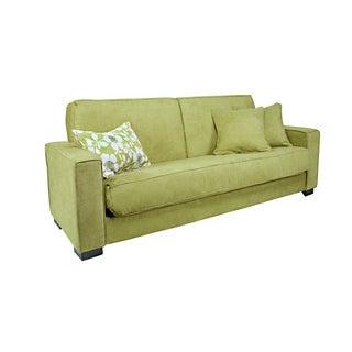 Portfolio Gilda Green Velvet Convert-a-Couch Futon Sofa