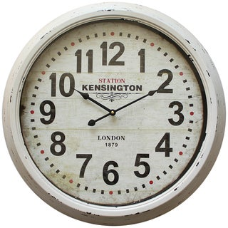Circular Iron Wall Clock Distressed White Iron Frame with Glass
