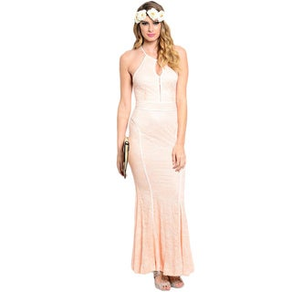 Shop The Trends Women's Sleeveless Halter Allover Floral Lace Mermaid Maxi Dress