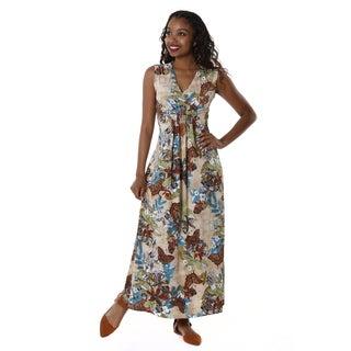 Hadari Women's Contemporary Floral V-Neck Sleeveless Maxi Dress
