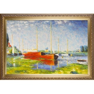 Claude Monet Red Boats at Argenteuil Hand Painted Framed Canvas Art