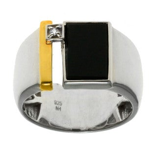 Michael Valitutti Gold over Silver Men's Onyx and Diamond Accent Ring