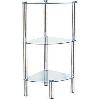 "Home Basics 30"" High Three Shelf Glass Shelving Unit (Chrome Finish)"