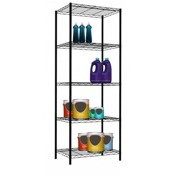 sunbeam 61 high 5 tier wire shelving storage unit. Black Bedroom Furniture Sets. Home Design Ideas