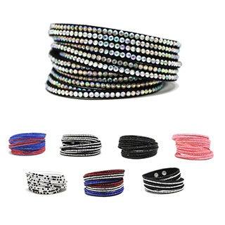 Bleek2Sheek Paved Rhinestone/ Suede Wrap-around Layered Cuff Bracelet