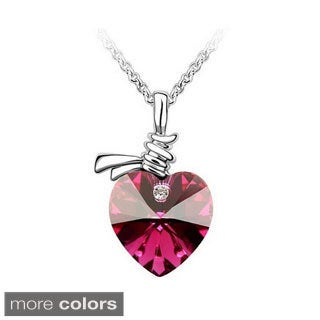 Princess Ice Platinum Plated Heart In A Knot Crystal Pendant