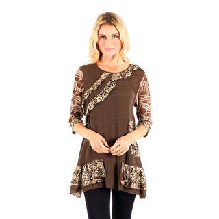 Women's Mocha 3/4-sleeve Lace and Ruffle Top
