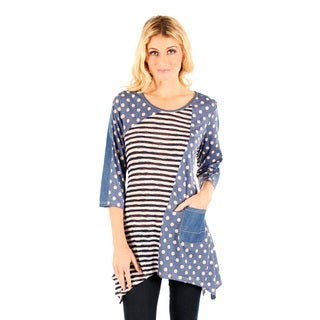 Firmiana Women's Blue/ White Polka Dot and Stripe 3/4-sleeve Top with Side Tail
