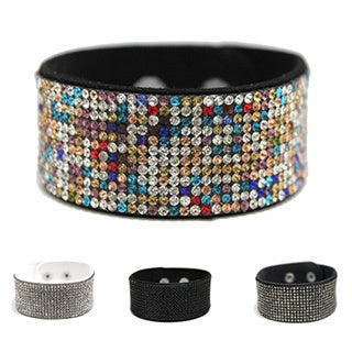 Bleek2Sheek Paved Rhinestone and Suede Snap Cuff Bracelet