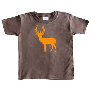 Rocket Bug Boy's Orange Deer Silhouette Brown Cotton T-shirt