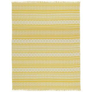Yellow Geo Cotton Rug (10'x14')
