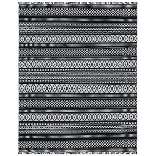 Black Geo Cotton Rug (9'x12')