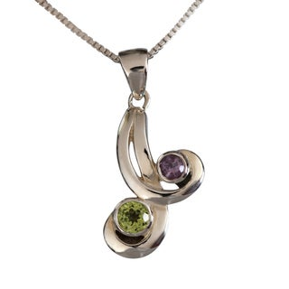 Sterling Silver Dual Natural Stones Peridot and Amethyst Necklace (Thailand)