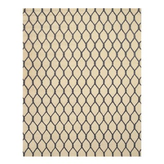 EORC Hand-tufted Ivory Wool Chain-Link Rug (8'9 x 11'9)