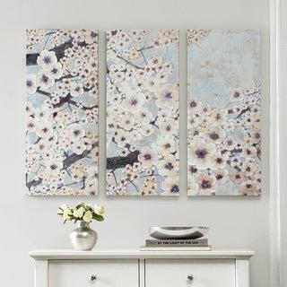 """Madison Park Norm Wyatt Jr """"Gleeful Bloom Set"""" Printed Embellished Canvas 3-Piece Set"""