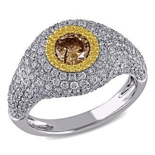 Miadora 18k Two-tone Gold 1 1/2ct TDW Brown and White Diamond Ring (F-G, SI1-SI2)