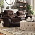 TRIBECCA HOME Coleford Coffee Double Reclining Loveseat with Storage Console