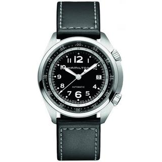 Hamilton Men's H76455733 Pilot Pioneer Auto Black Leather Watch 41mm