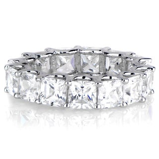 Sterling Silver Princess-cut Cubic Zirconia Eternity Band Ring