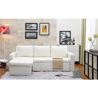 the-Hom Georgetown 2-piece White Bi-cast Leather Sectional Sofa Bed with Storage
