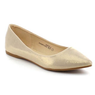 Bellamarie Angie-8 Women's Classic Pointy Toe Glitter Ballet Flat Shoes