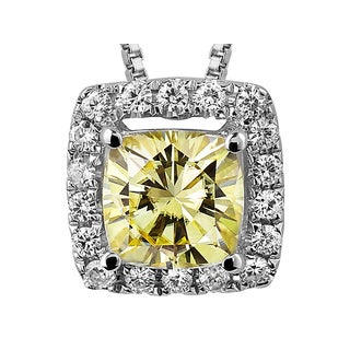Charles and Colvard Sterling Silver 1 1/10ct TGW Yellow Moissanite Cushion-cut Halo Pendant