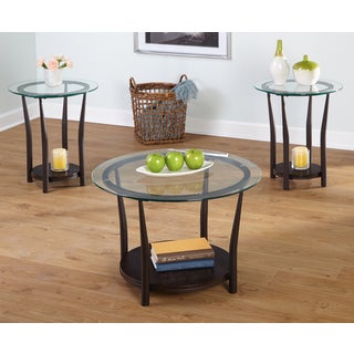 Simple Living Dark Brown 3-piece Cora End and Coffee Table Set