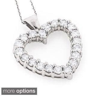 Luxurman 14k Gold 3 1/5ct TDW Diamond Heart Necklace (H-I, SI1-SI2)